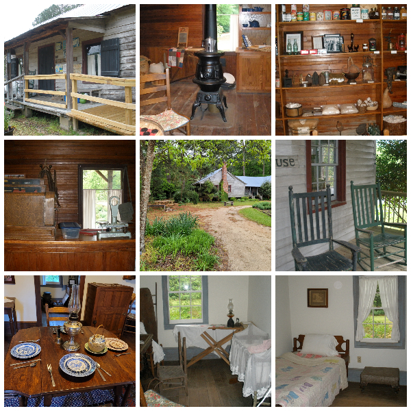 Past Cape Fear Botanical Gardens store and farmhouse